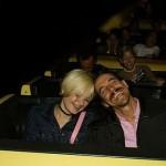 Anthony Kiedis with Yohanna Logan on a rollercoaster